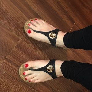 Size 7. Black Flip flops with a little shimmer,